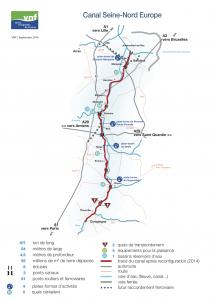 Carte des équipements et aménagements du canal Seine-Nord Europe © VNF