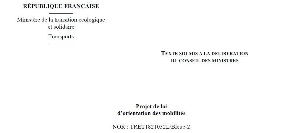 Le projet de loi d'orientation des mobilités présenté en Conseil des Ministres